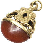Ornate Carnelian and Brass Fob or Pendant