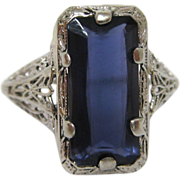 14K White Gold Art Deco Filigree Iolite Ring