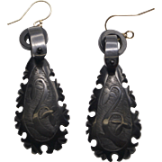 Victorian Era Carved Jet, Tear Drop Earrings