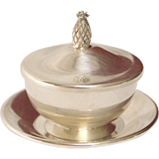 Vintage Miniature Sterling Silver Sugar Bowl with Pineapple Lid and Saucer