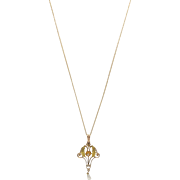 Edwardian 10K Gold, Diamond and Pearl Lavaliere on 14kt Gold Chain