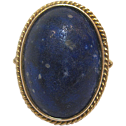 Lapis 14 K Yellow Gold Oval Cabochon Ring