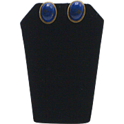 Vintage Lapis 14K Gold Cabochon Earrings