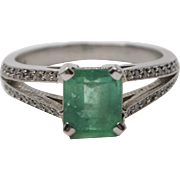 18K White Gold, Emerald and Diamond Ring