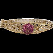 Remarkable Edwardian 14KT Gold, Ruby, Pearl and Diamond bracelet