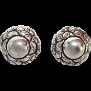 Georg Jensen Sterling Silver Leaf Circle  Earrings #74