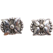 Vintage Georg Jensen Sterling Silver Flower earrings