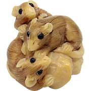 Mouse and Peanut Combination Resin Netsuke