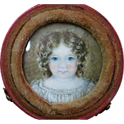 Leather Portrait Case with Hand-Painted Angelic Child