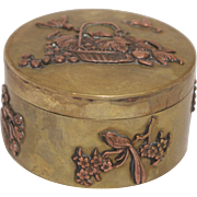 Meiji Era Mixed Metal Brass & Copper Japanese Box