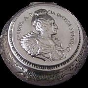 Portrait Medal Hanau Silver Round Box or Snuff