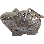 Thai Silver Repoussé Rat Animal Charm Box