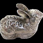 Thai Silver Repoussé Rabbit Charm Box