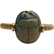 15Kt Gold, 1880's Egyptian Revival Faience Scarab Swivel Ring