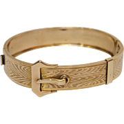 Gold Filled Buckle Bracelet with Wood Grain Decoration by T & D
