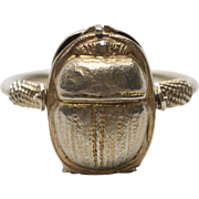 1920's Sterling Silver Gold Wash Scarab Swivel Poison Ring