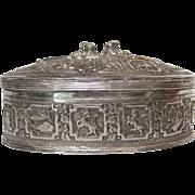 Intricate Burmese Repoussé Zodiac Box 950 Silver circa 1910