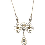 Belle Epoque Diamond, Pearl, Aquamarine and Sapphire 14 KT Gold Necklace
