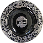 Rockwell Black Amethyst Glass Platter with Sterling Silver Overlay, circa 1910