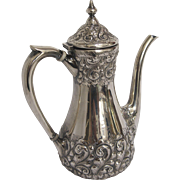 Durgin 19th Century Sterling Silver Reppousé Coffee Pot  for Theodore B. Starr