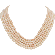 Elegant 14 KT Gold, 5-Strand Coral Necklace