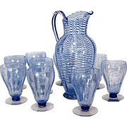 Cobalt Blue Threaded Wave Libbey-Nash Glass Set and Pitcher
