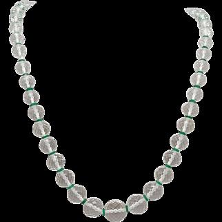 Vintage Czech Cut Crystal Bead Necklace