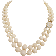 1940's White Coral Necklace with Carved Coral Rose