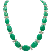 Vintage Czech Cut Crystal and Green Quartz Bead Necklace