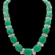 Vintage Czech Cut Crystal and Green Quartz Bead Necklace