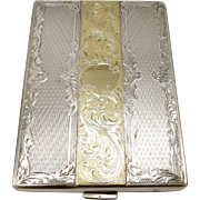 Austrian Engine Turned 800 Silver Gold Gilt Case