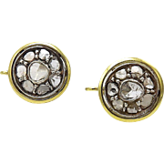 18kt Gold, Sterling Silver, and Rose Cut Diamond Earrings, circa 1870