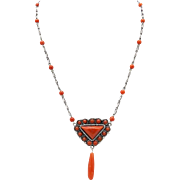 Sterling Silver and Sardinian Coral Necklace, circa 1920