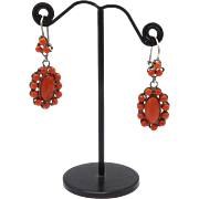 Sterling Silver and Coral Earrings, circa 1920