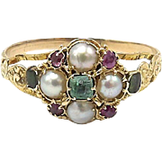 Georgian Era 15kt Gold, Emerald, Spinel, and Pearl Ring