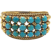 18kt Gold and Turquoise Etruscan Revival Ring