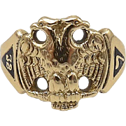 14kt Gold Masonic Double Eagle Scottish Rite Ring with Enamel Details