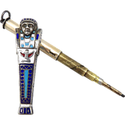 Egyptian Revival Silver and Enamel Sarcophagus Pencil Pendant