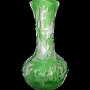 Green Leaf Cameo Glass, Webb Vase
