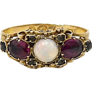 Early Victorian 15kt Gold, Emerald, Rhodolite Garnet, and Opal Ring