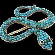 Georgian Era Turquoise Pave Snake Brooch