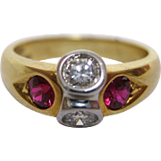 Ruby and Diamond 18 Karat Yellow Gold Ring