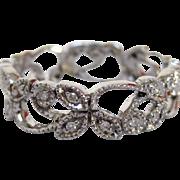 18 Karat White Gold and Diamond Ring with Leaf Motif