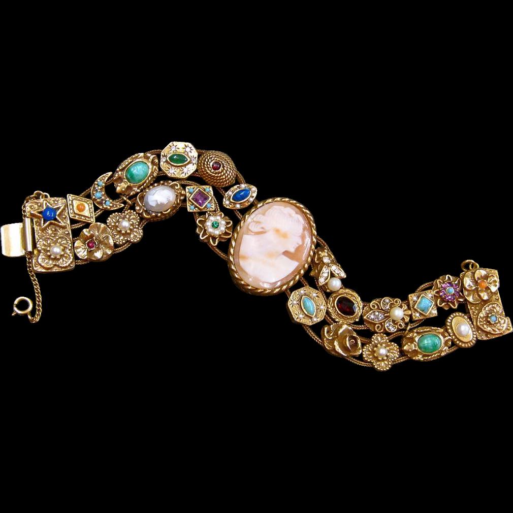Vintage Goldette Victorian Revival Slide Bracelet With Cameo Sold Ruby Lane