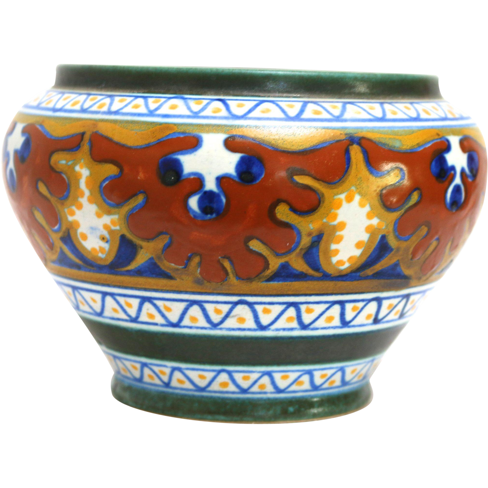 Gouda art pottery small jardiniere in the candia pattern for Pottery patterns