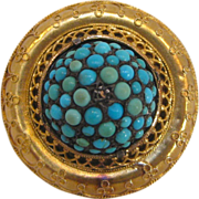 Etruscan Revival 14 K Gold, Turquoise, and Diamond Brooch, circa 1870s