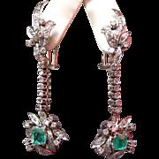 Stunning 18K White Gold, Diamond, and Emerald Dangle Earrings, circa 1940s