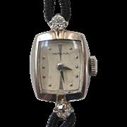 Vintage Hamilton 14K White Gold and Diamond Ladies Wrist Watch