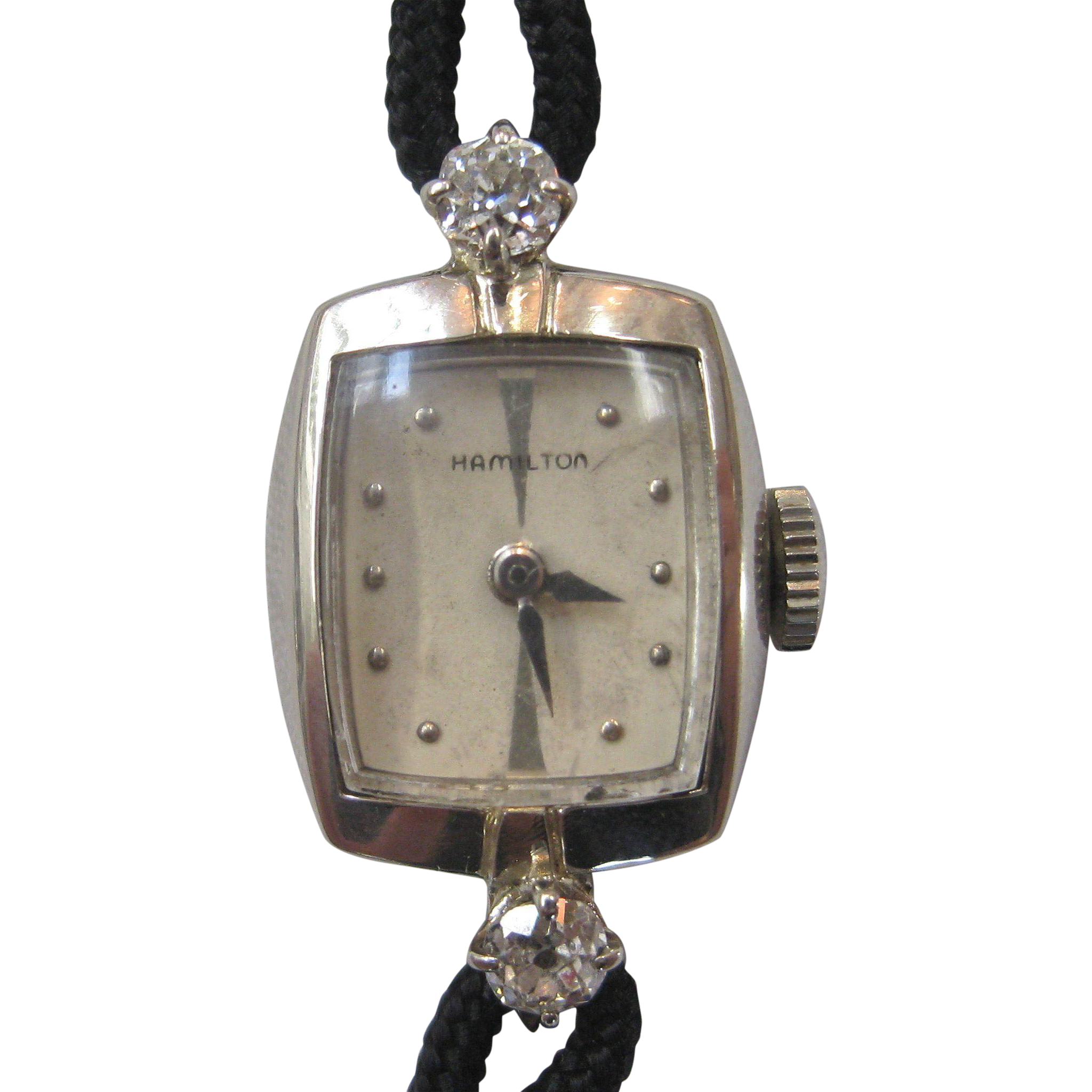 Attractive Vintage Hamilton 14K White Gold and Diamond Ladies Wrist Watch  IE83
