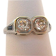 18K Gold Edwardian/Art Deco Two Stone Diamond Ring with Sapphires